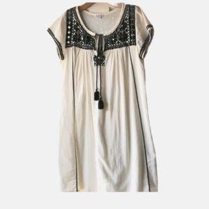 Star Mela black embroidered Ivory tunic dress
